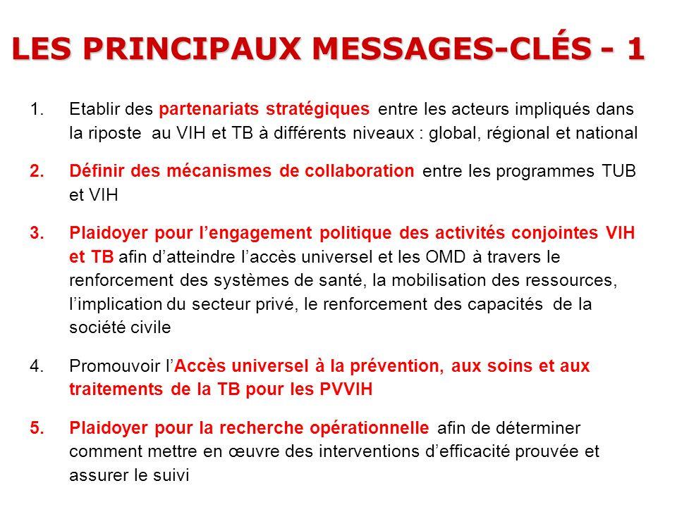 LES PRINCIPAUX MESSAGES-CLÉS - 1 1.Etablir des partenariats stratégiques entre les acteurs impliqués dans la riposte au VIH et TB à différents niveaux
