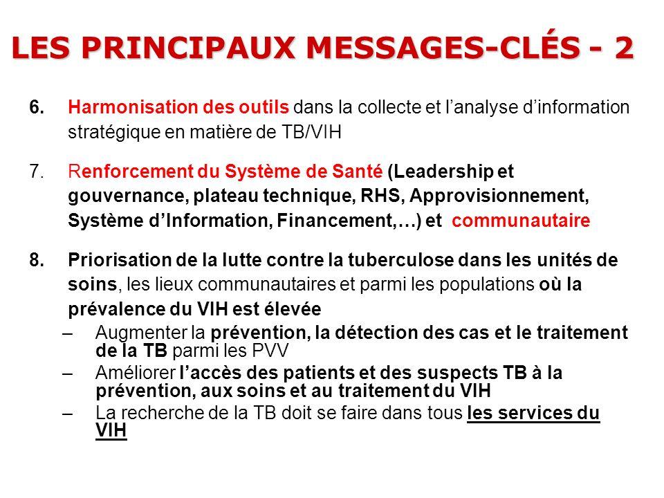 LES PRINCIPAUX MESSAGES-CLÉS - 2 6.Harmonisation des outils dans la collecte et lanalyse dinformation stratégique en matière de TB/VIH 7.Renforcement