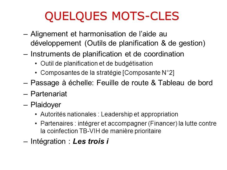 QUELQUES MOTS-CLES –Alignement et harmonisation de laide au développement (Outils de planification & de gestion) –Instruments de planification et de c