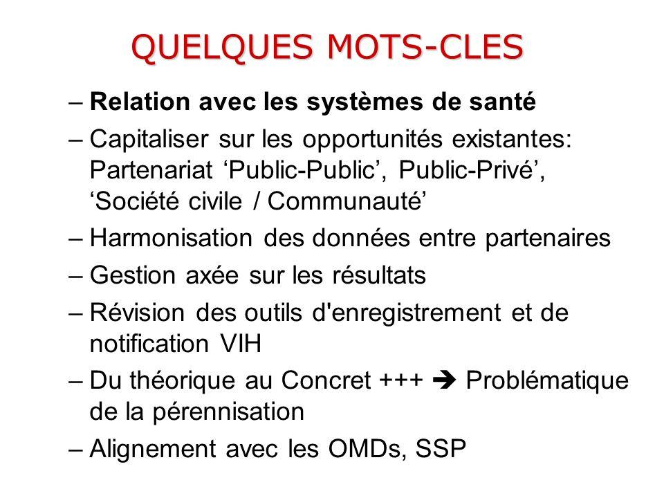 QUELQUES MOTS-CLES –Relation avec les systèmes de santé –Capitaliser sur les opportunités existantes: Partenariat Public-Public, Public-Privé, Société