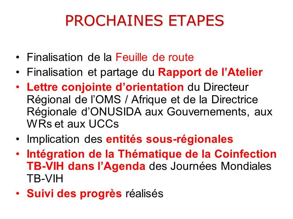 PROCHAINES ETAPES Finalisation de la Feuille de route Finalisation et partage du Rapport de lAtelier Lettre conjointe dorientation du Directeur Région