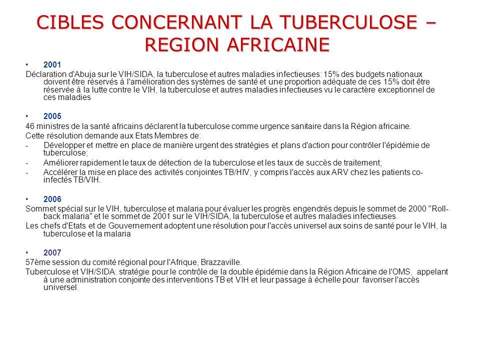 CIBLES CONCERNANT LA TUBERCULOSE – REGION AFRICAINE 2001 Déclaration d'Abuja sur le VIH/SIDA, la tuberculose et autres maladies infectieuses: 15% des