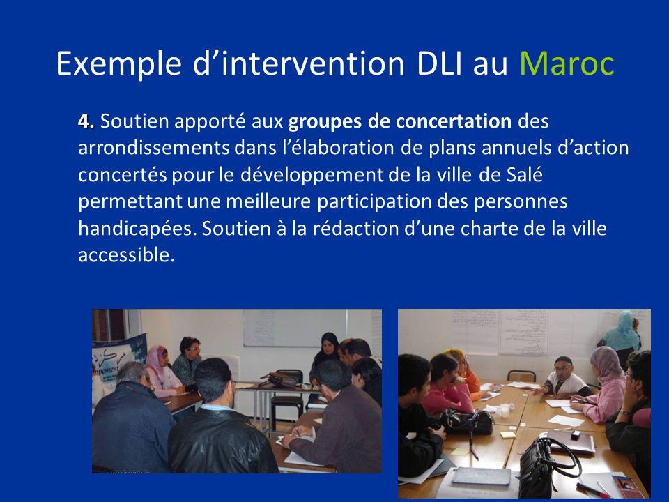 Exemple dintervention DLI au Maroc 4. 4. Soutien apporté aux groupes de concertation des arrondissements dans lélaboration de plans annuels daction co