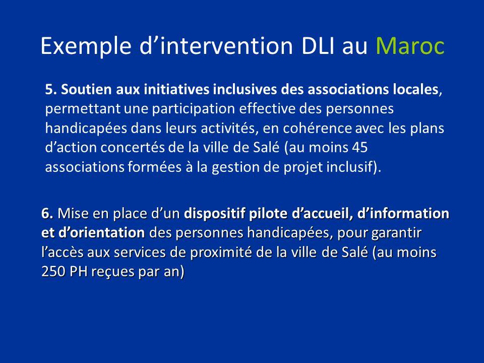 Exemple dintervention DLI au Maroc 5. Soutien aux initiatives inclusives des associations locales, permettant une participation effective des personne