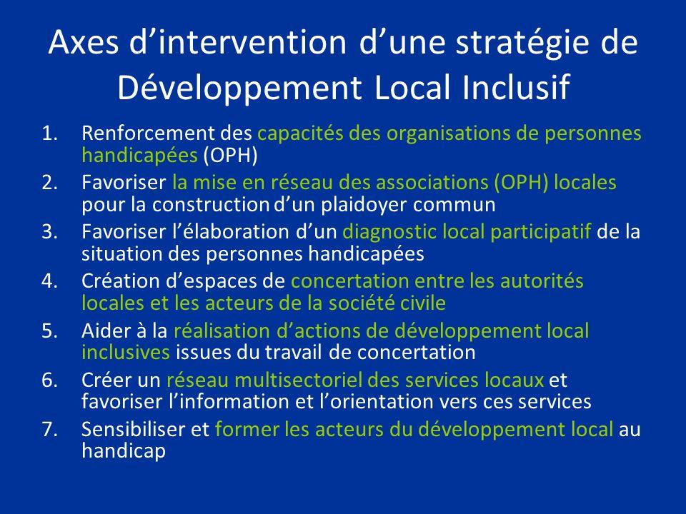 Axes dintervention dune stratégie de Développement Local Inclusif 1.Renforcement des capacités des organisations de personnes handicapées (OPH) 2.Favo