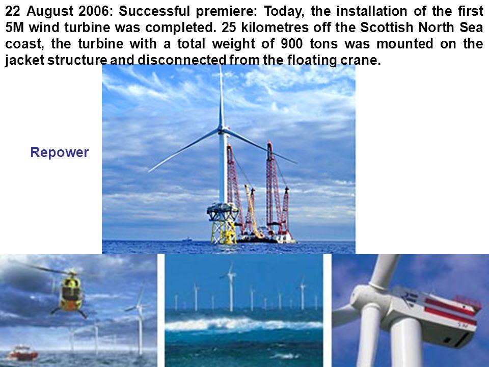 Hélice D=126 m P=120 tonnes S = 12500 m 2 Mât H=114m D=6m P=750t Nacelle (m) L=18 h=6 l=6 P= 290 tonnes P = 5 MW Offshore Une énergie de poids Fondations