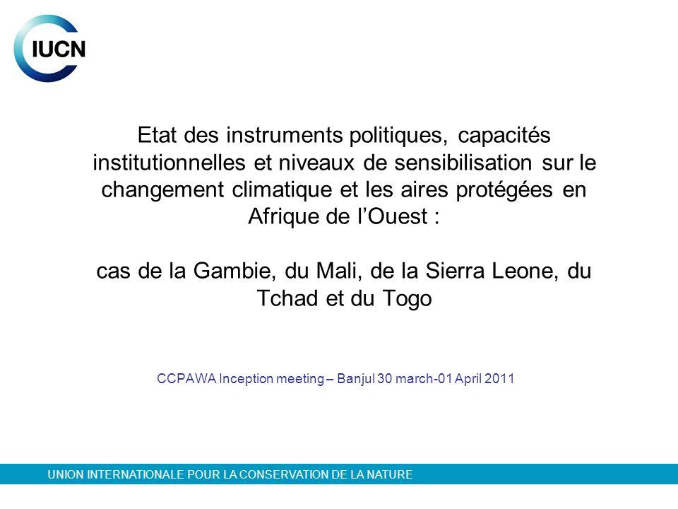 Etat des instruments politiques, capacités institutionnelles et niveaux de sensibilisation sur le changement climatique et les aires protégées en Afri