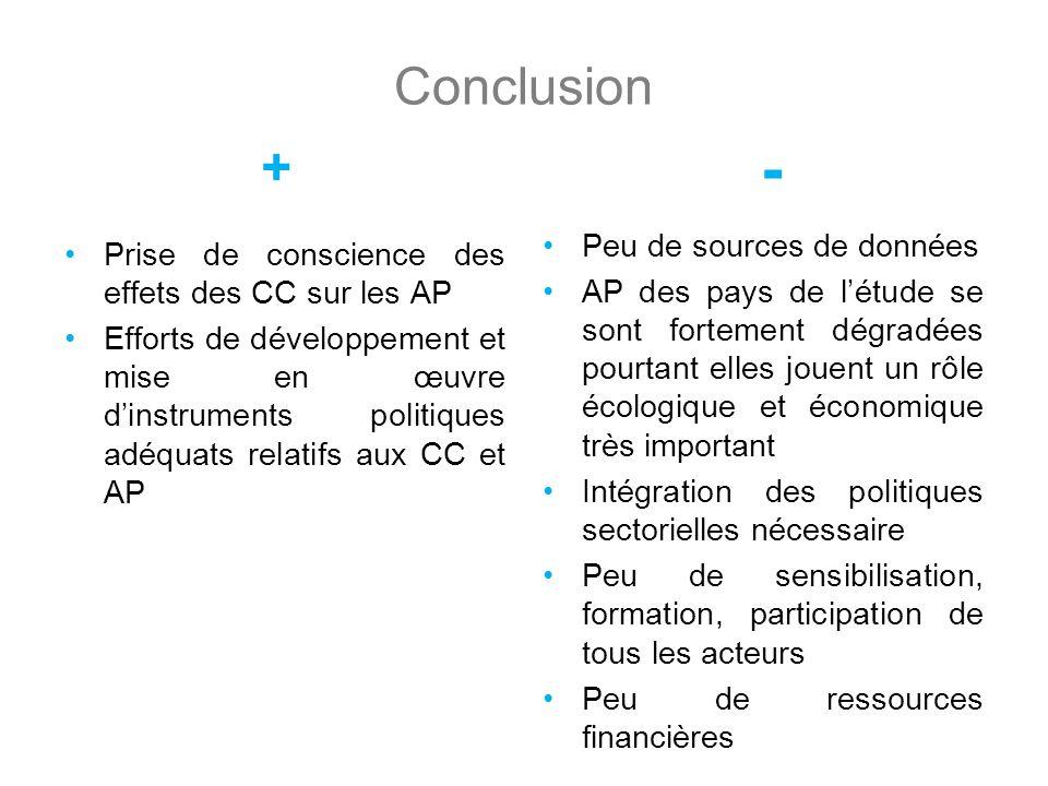 Conclusion + Prise de conscience des effets des CC sur les AP Efforts de développement et mise en œuvre dinstruments politiques adéquats relatifs aux