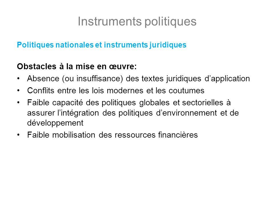 Instruments politiques Politiques nationales et instruments juridiques Obstacles à la mise en œuvre: Absence (ou insuffisance) des textes juridiques d