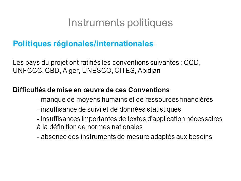 Instruments politiques Politiques régionales/internationales Les pays du projet ont ratifiés les conventions suivantes : CCD, UNFCCC, CBD, Alger, UNES
