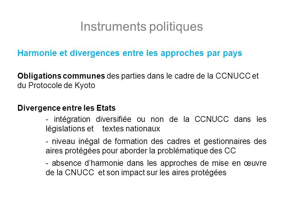 Instruments politiques Harmonie et divergences entre les approches par pays Obligations communes des parties dans le cadre de la CCNUCC et du Protocol