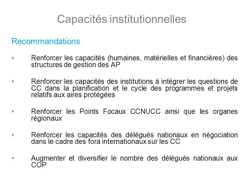 Capacités institutionnelles Recommandations Renforcer les capacités (humaines, matérielles et financières) des structures de gestion des AP Renforcer