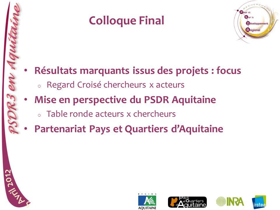 Colloque Final Résultats marquants issus des projets : focus o Regard Croisé chercheurs x acteurs Mise en perspective du PSDR Aquitaine o Table ronde