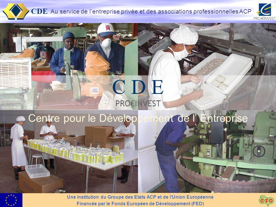 CDE Au service du Secteur Privé 2 CDE: Historique et Mandat Le CDE - Centre pour le Développement de lEntreprise Institution du Groupe ACP et UE – Accord de Cotonou Support au secteur privé ACP, pour un développement durable Financé par le FED (Fonds Européen de Développement)