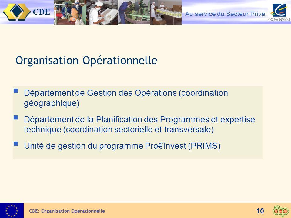 CDE Au service du Secteur Privé 10 Organisation Opérationnelle CDE: Organisation Opérationnelle Département de Gestion des Opérations (coordination gé
