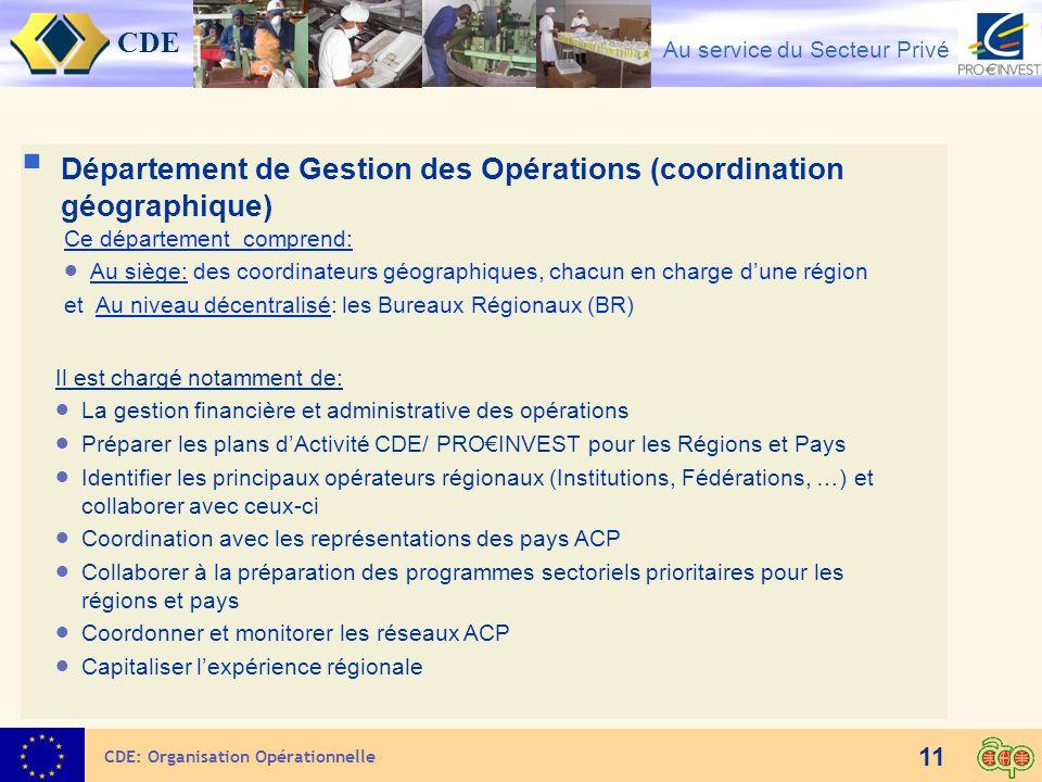 CDE Au service du Secteur Privé 11 CDE: Organisation Opérationnelle Département de Gestion des Opérations (coordination géographique) Ce département c