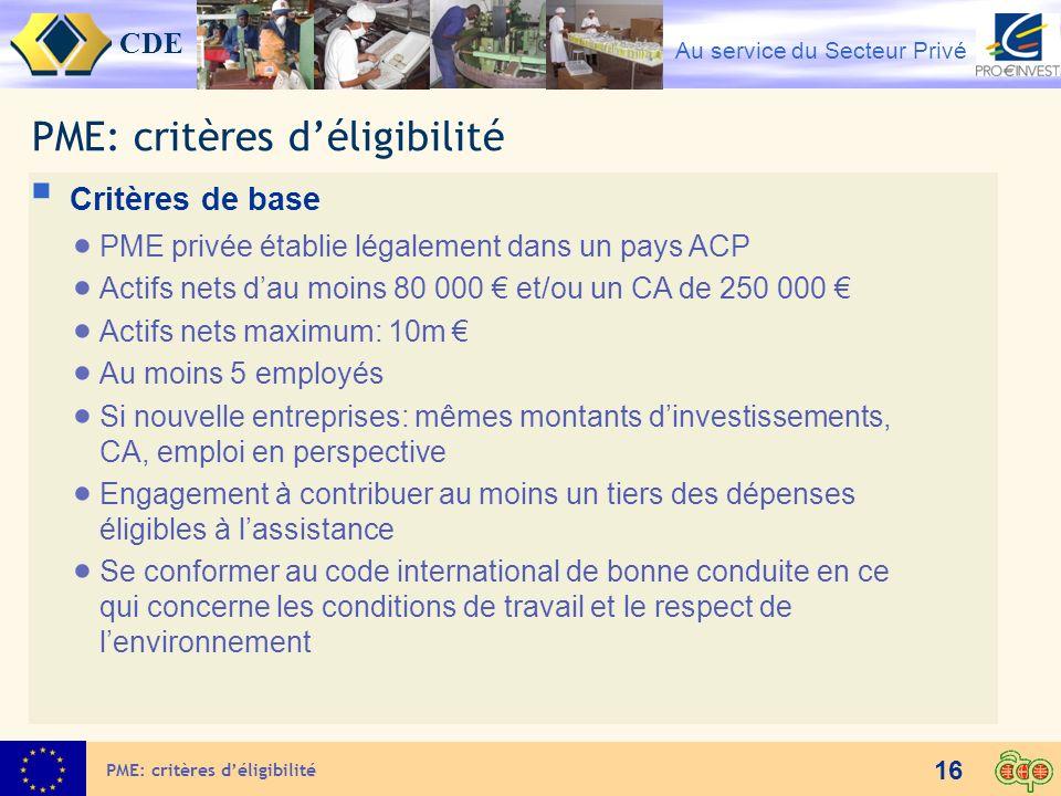 CDE Au service du Secteur Privé 16 PME: critères déligibilité Critères de base PME privée établie légalement dans un pays ACP Actifs nets dau moins 80
