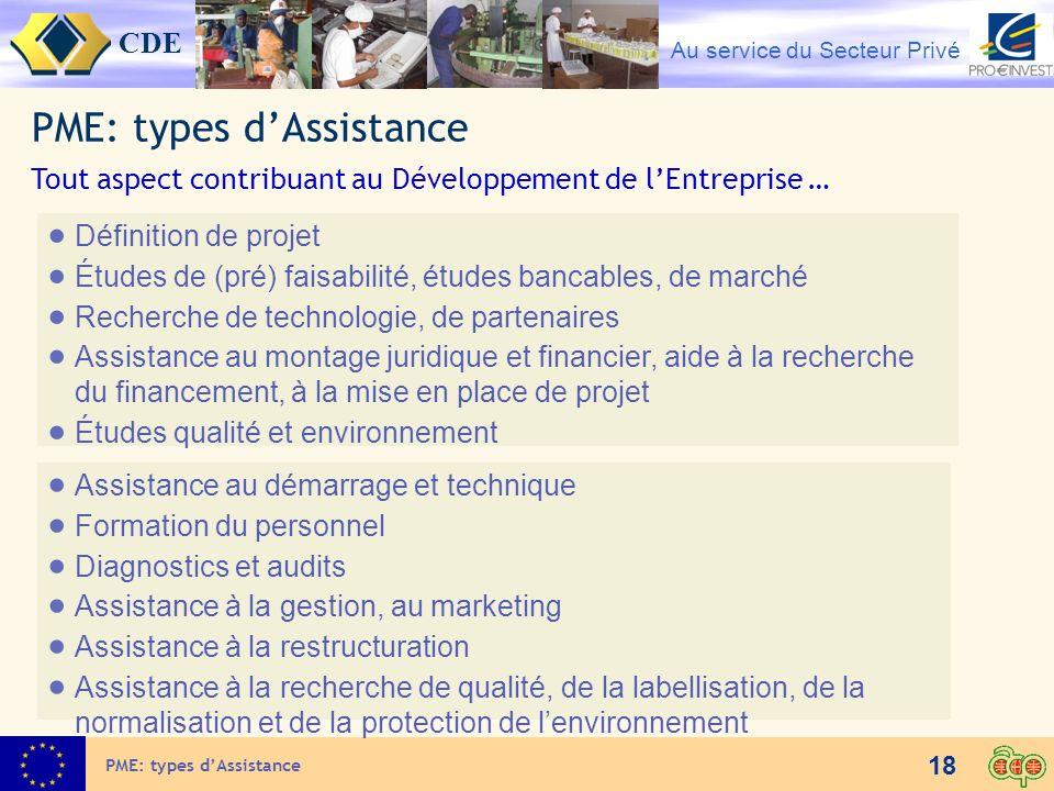 CDE Au service du Secteur Privé 18 PME: types dAssistance Définition de projet Études de (pré) faisabilité, études bancables, de marché Recherche de t