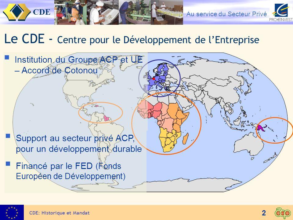 CDE Au service du Secteur Privé 2 CDE: Historique et Mandat Le CDE - Centre pour le Développement de lEntreprise Institution du Groupe ACP et UE – Acc