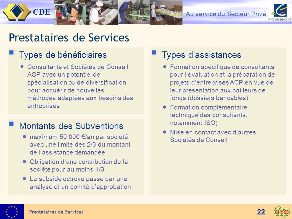 CDE Au service du Secteur Privé 22 Prestataires de Services Types de bénéficiaires Consultants et Sociétés de Conseil ACP avec un potentiel de spécial