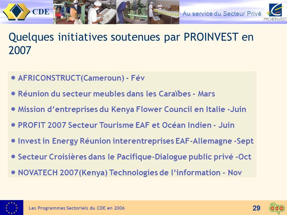 CDE Au service du Secteur Privé 29 AFRICONSTRUCT(Cameroun) - Fév Réunion du secteur meubles dans les Caraïbes - Mars Mission dentreprises du Kenya Flo