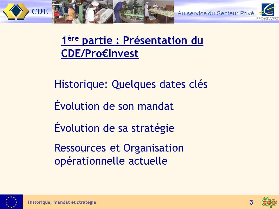 CDE Au service du Secteur Privé 3 Historique: Quelques dates clés Historique, mandat et stratégie Évolution de sa stratégie Ressources et Organisation