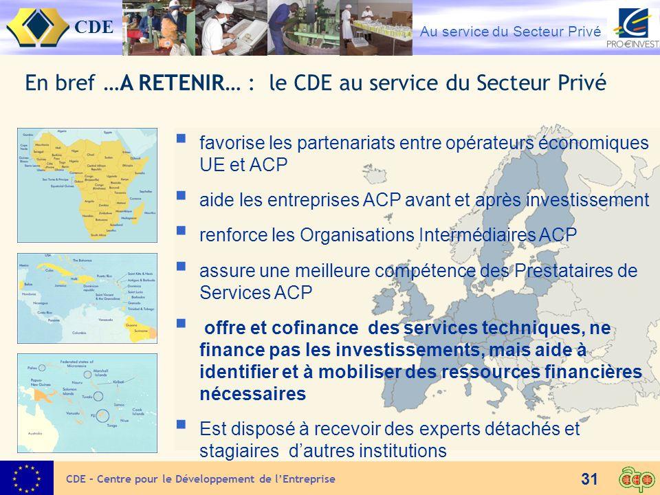 CDE Au service du Secteur Privé 31 En bref …A RETENIR… : le CDE au service du Secteur Privé favorise les partenariats entre opérateurs économiques UE