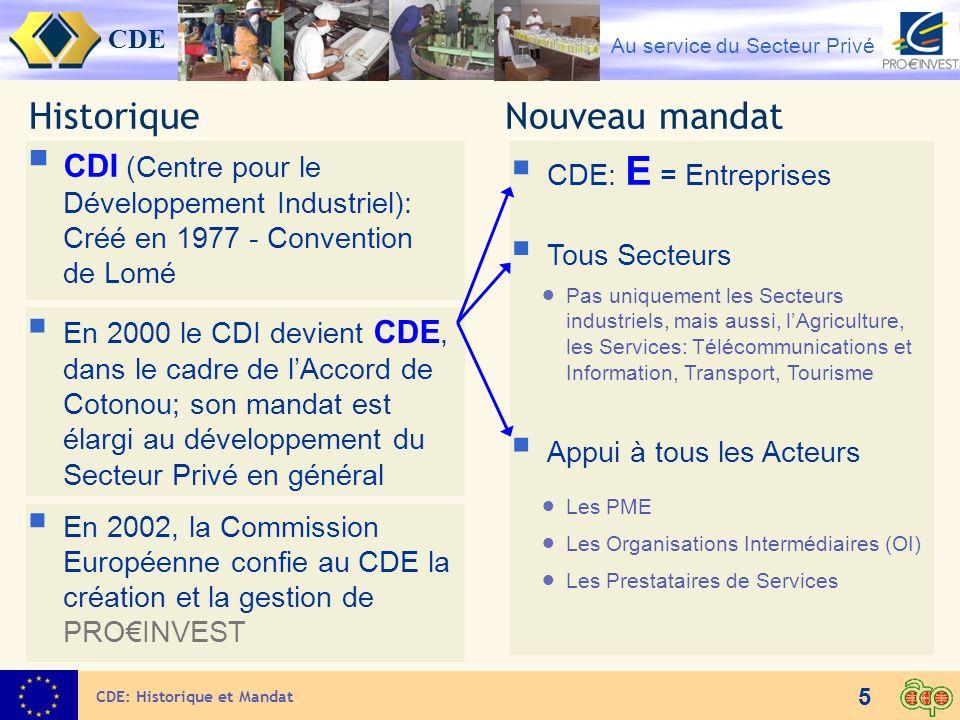 CDE Au service du Secteur Privé 26 Opportunités pour les entreprises et OI de lUE Le CDE favorise les partenariats entre opérateurs économiques UE et ACP: Partenariat financier, technique et commercial Contrat de gestion Accord de licence ou de franchise Sous-traitance Toute contribution du CDE en faveur dun partenariat, nécessite une marque dintérêt et une requête introduite par ou au nom du partenaire ACP UE - partenariats Le CDE et son réseau ACP offrent les services suivants: Information sur les programmes et opportunités offerts par CDE / PROINVEST Information sur lenvironnement des entreprises ACP Identification des potentialités des pays ACP Recherche, sélection et évaluation de partenaires ACP Accompagnement de missions dentrepreneurs/OI UE dans les pays ACP ou entrepreneurs/OI ACP dans les pays UE Le réseau UE – Relais adapté Information sur les programmes et opportunités offerts par CDE / PROINVEST Aide à la présentation de projets / cofinancement