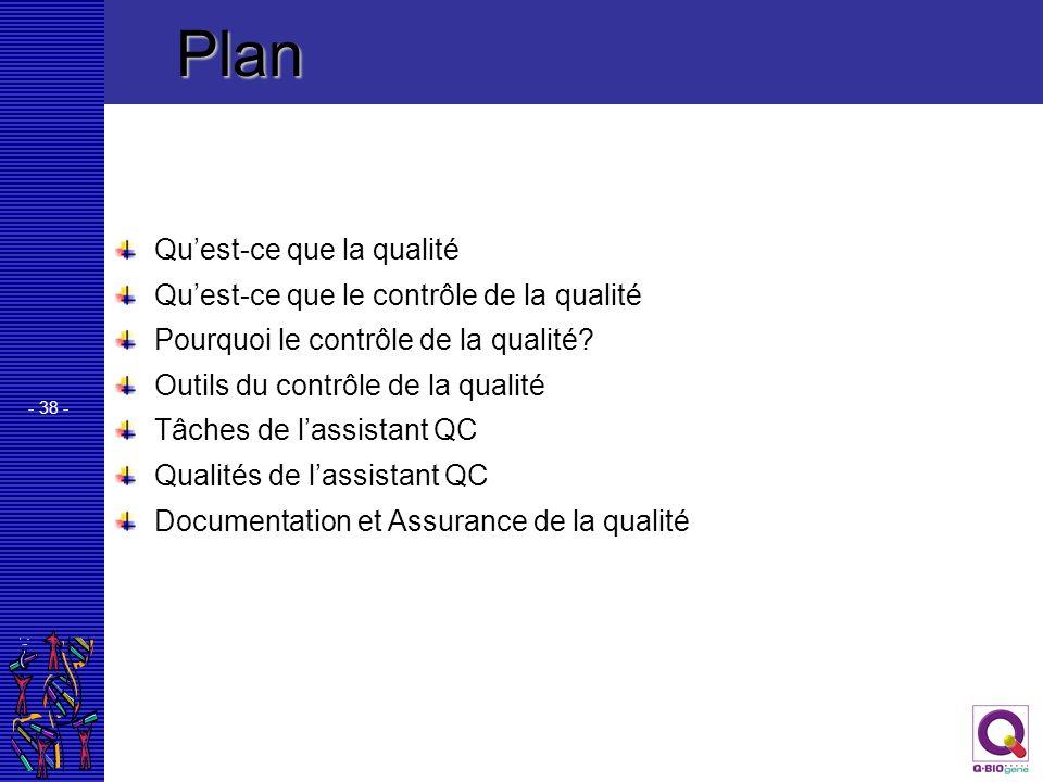 - 38 - Quest-ce que la qualité Quest-ce que le contrôle de la qualité Pourquoi le contrôle de la qualité? Outils du contrôle de la qualité Tâches de l