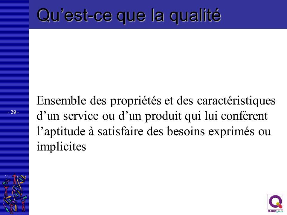 - 39 - Quest-ce que la qualité Ensemble des propriétés et des caractéristiques dun service ou dun produit qui lui confèrent laptitude à satisfaire des