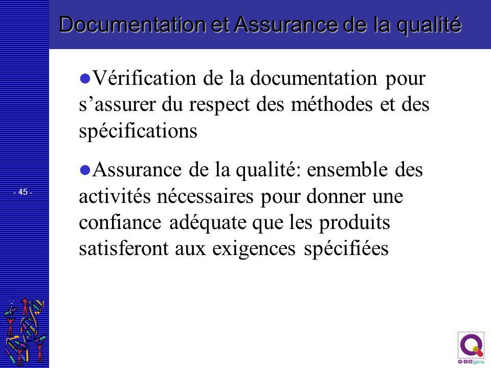 - 45 - Documentation et Assurance de la qualité Vérification de la documentation pour sassurer du respect des méthodes et des spécifications Assurance