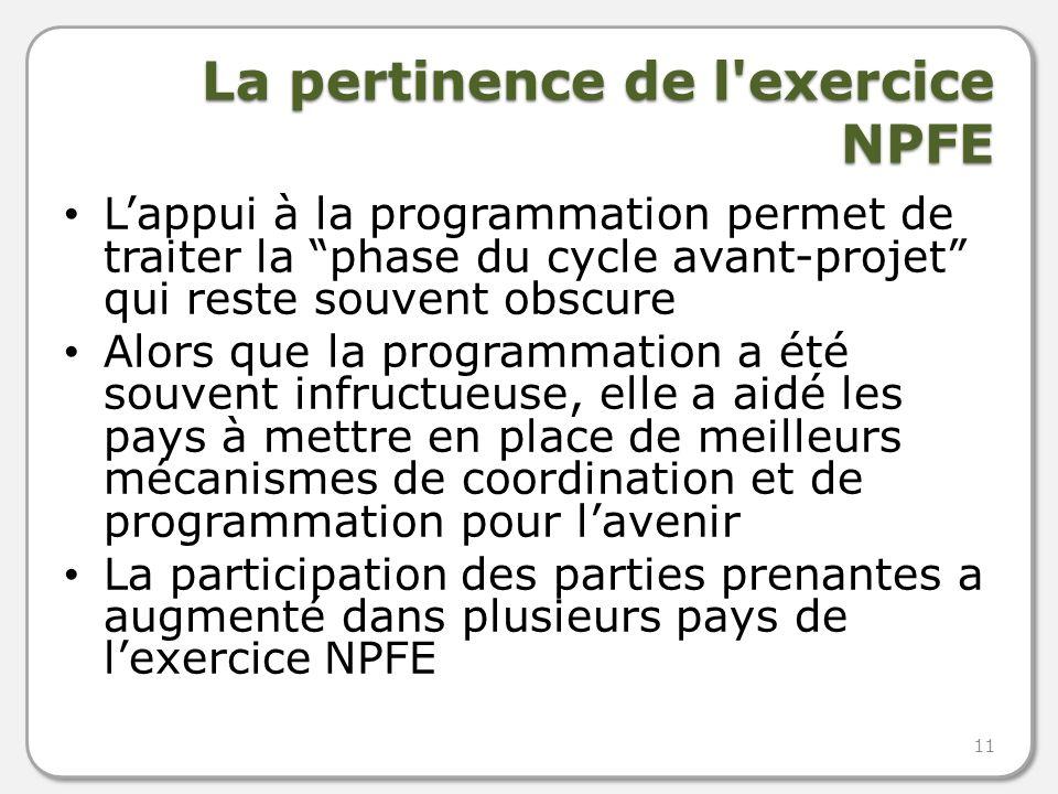 La pertinence de l exercice NPFE Lappui à la programmation permet de traiter la phase du cycle avant-projet qui reste souvent obscure Alors que la programmation a été souvent infructueuse, elle a aidé les pays à mettre en place de meilleurs mécanismes de coordination et de programmation pour lavenir La participation des parties prenantes a augmenté dans plusieurs pays de lexercice NPFE 11