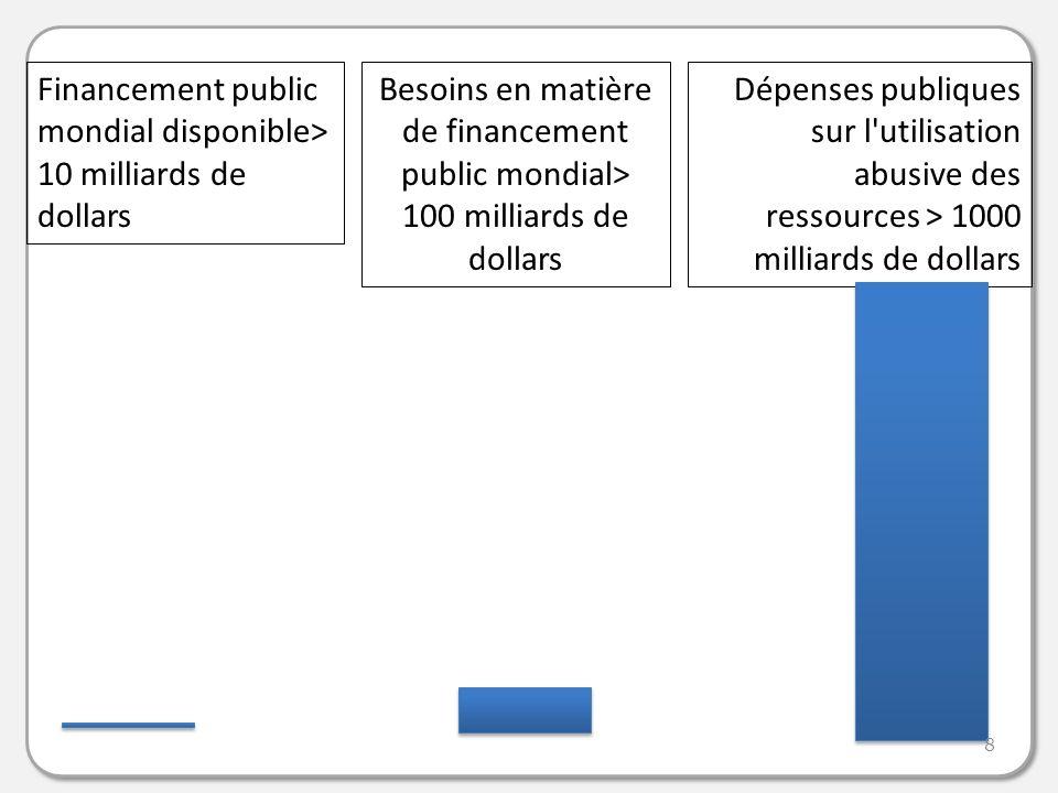 Financement public mondial disponible> 10 milliards de dollars Dépenses publiques sur l utilisation abusive des ressources > 1000 milliards de dollars Besoins en matière de financement public mondial> 100 milliards de dollars 8