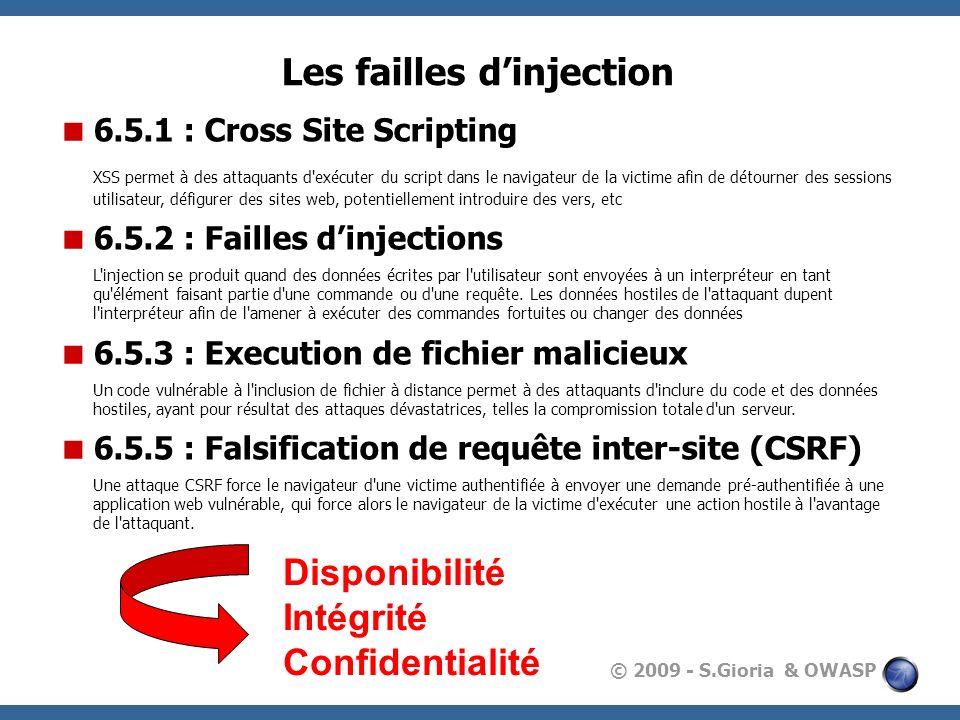 © 2009 - S.Gioria & OWASP Les failles dinjection 6.5.1 : Cross Site Scripting XSS permet à des attaquants d'exécuter du script dans le navigateur de l