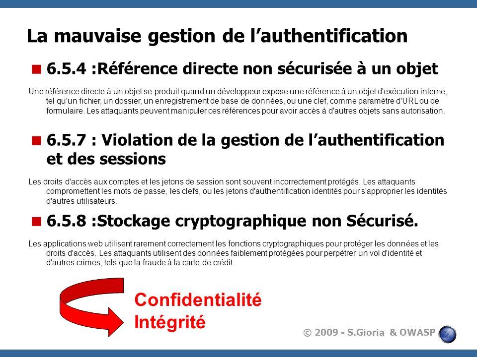 © 2009 - S.Gioria & OWASP La mauvaise gestion de lauthentification 6.5.4 :Référence directe non sécurisée à un objet Une référence directe à un objet