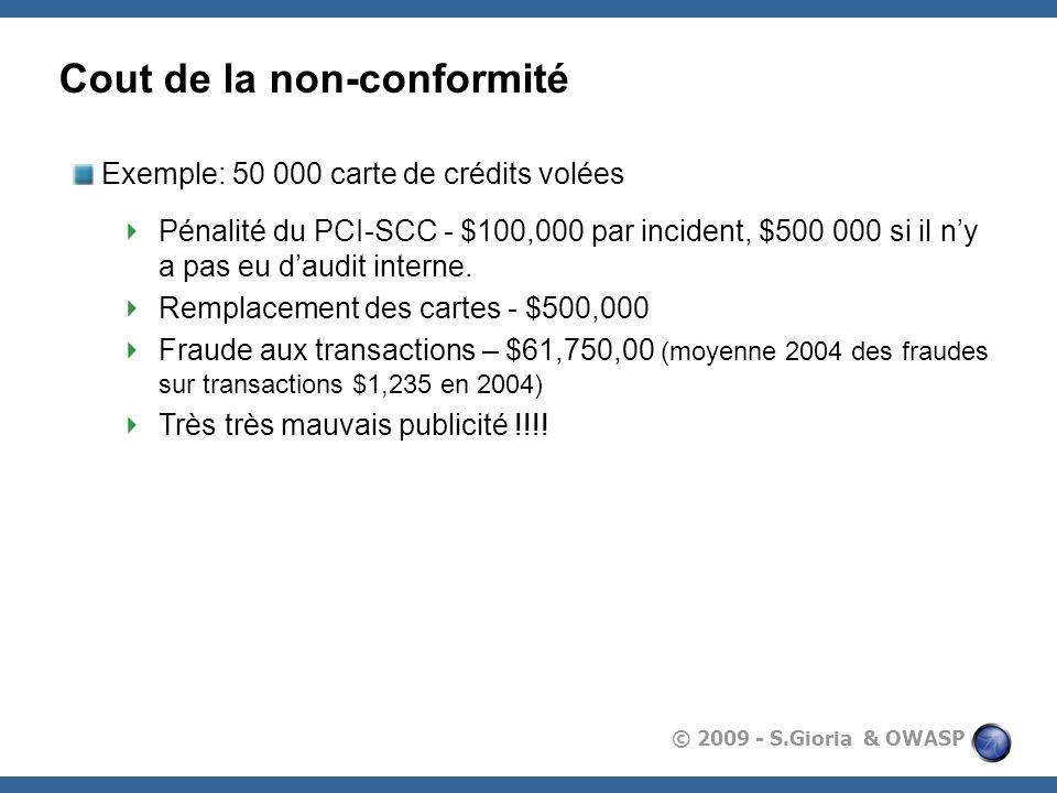 © 2009 - S.Gioria & OWASP Cout de la non-conformité Exemple: 50 000 carte de crédits volées Pénalité du PCI-SCC - $100,000 par incident, $500 000 si i