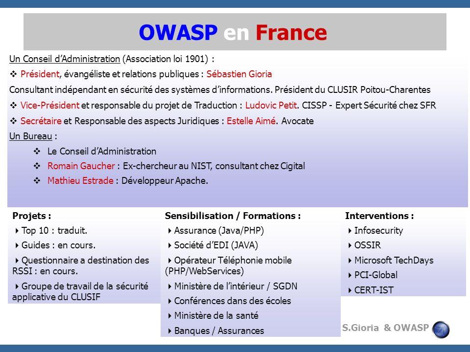 © 2009 - S.Gioria & OWASP OWASP en France Un Conseil dAdministration (Association loi 1901) : Président, évangéliste et relations publiques : Sébastie