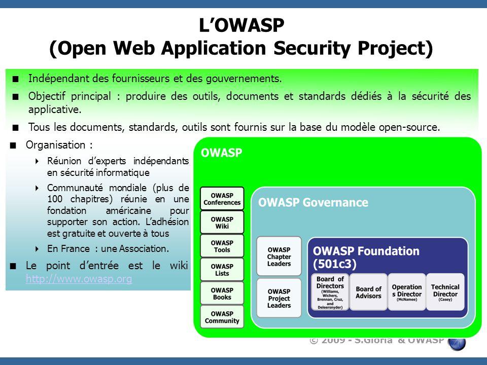 © 2009 - S.Gioria & OWASP LOWASP (Open Web Application Security Project) Indépendant des fournisseurs et des gouvernements. Objectif principal : produ