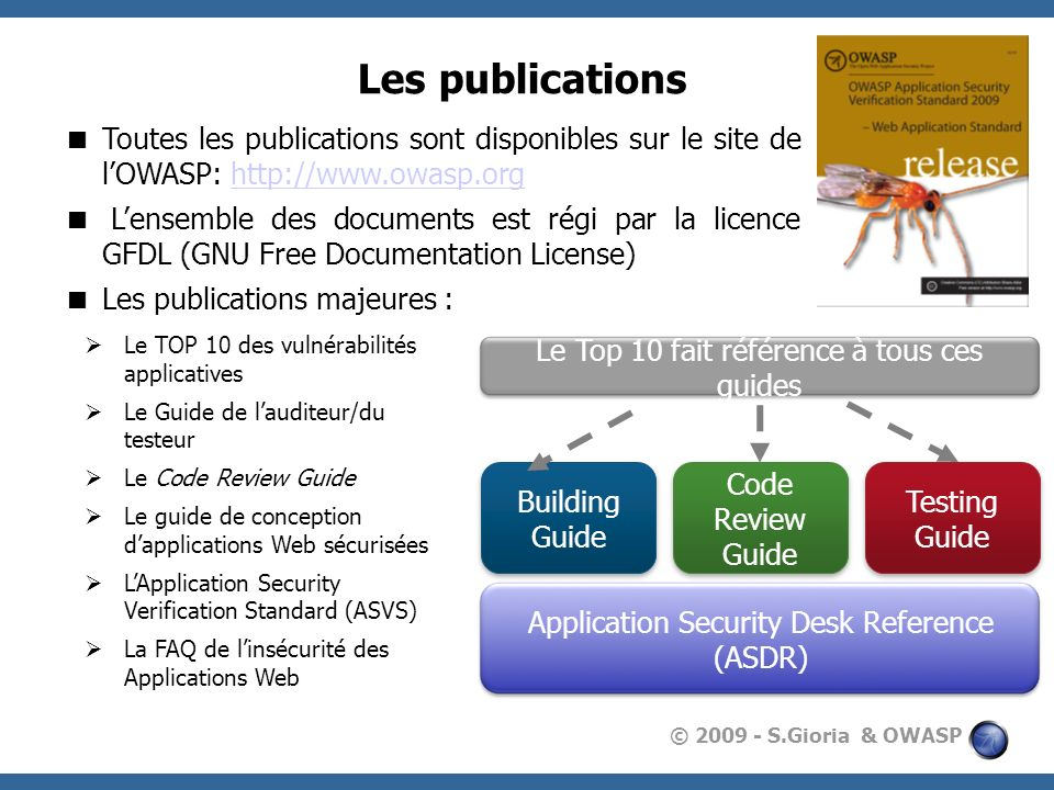 © 2009 - S.Gioria & OWASP Les publications Toutes les publications sont disponibles sur le site de lOWASP: http://www.owasp.orghttp://www.owasp.org Le