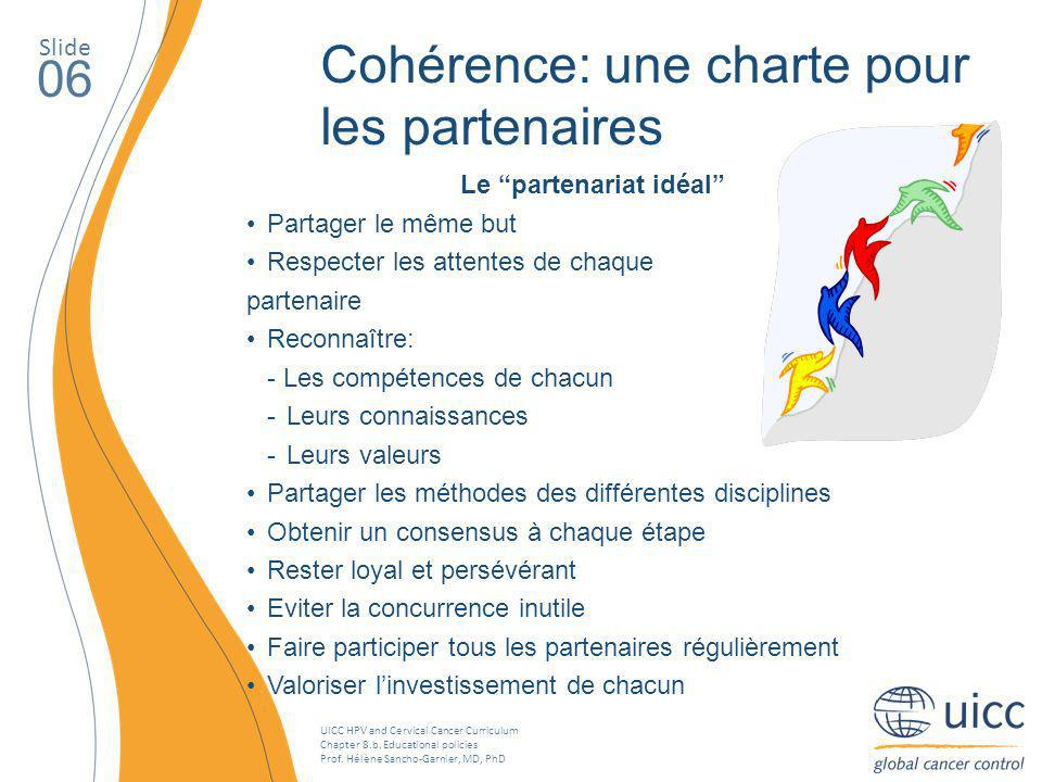 UICC HPV and Cervical Cancer Curriculum Chapter 8.b. Educational policies Prof. Hélène Sancho-Garnier, MD, PhD Slide 06 Cohérence: une charte pour les