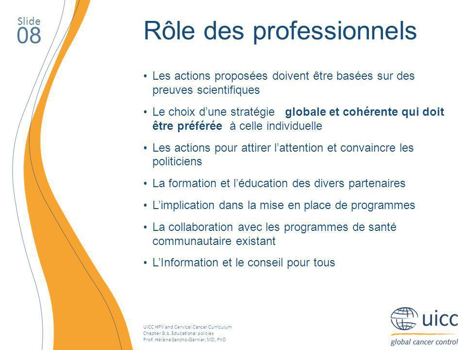 UICC HPV and Cervical Cancer Curriculum Chapter 8.b. Educational policies Prof. Hélène Sancho-Garnier, MD, PhD Slide 08 Rôle des professionnels Les ac