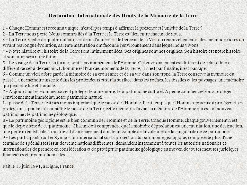 Carta di Digne (giugno 1991) Dichiarazione internazionale dei diritti della memoria della Terra 1) Ogni Uomo è riconosciuto unico, è ora di affermare anche la presenza e lunicità della Terra.