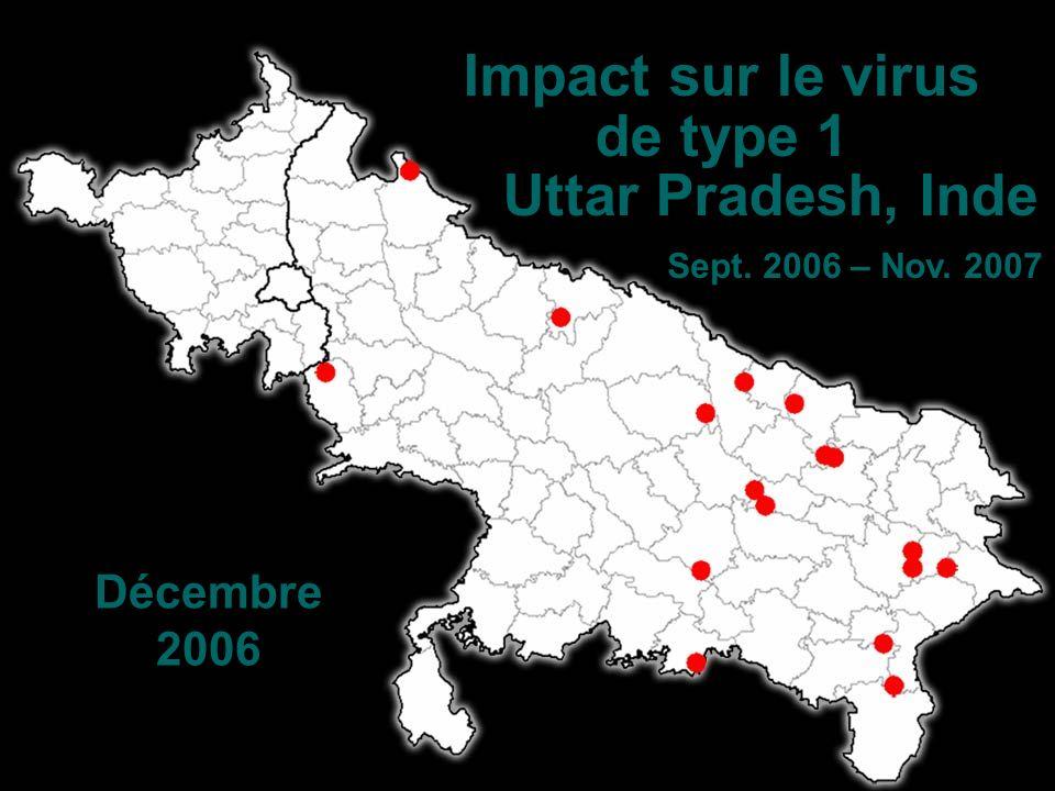 Décembre 2006 Impact sur le virus de type 1 Uttar Pradesh, Inde Sept. 2006 – Nov. 2007