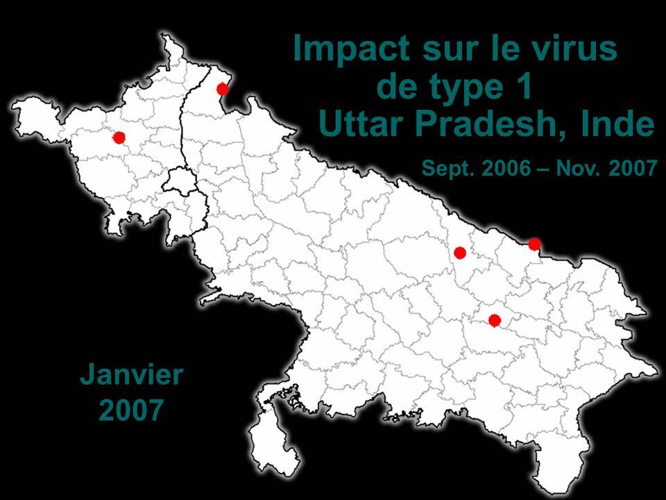 Janvier 2007 Impact sur le virus de type 1 Uttar Pradesh, Inde Sept. 2006 – Nov. 2007