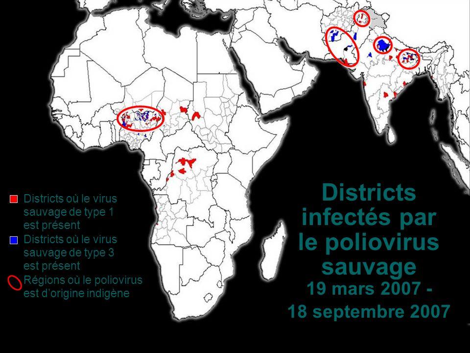 Districts infectés par le poliovirus sauvage 19 mars 2007 - 18 septembre 2007 Districts où le virus sauvage de type 1 est présent Districts où le virus sauvage de type 3 est présent Régions où le poliovirus est dorigine indigène