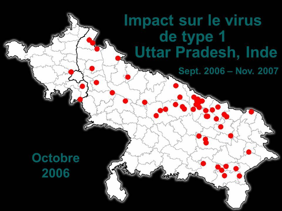 Impact sur le virus de type 1 Uttar Pradesh, Inde Sept. 2006 – Nov. 2007 Octobre 2006