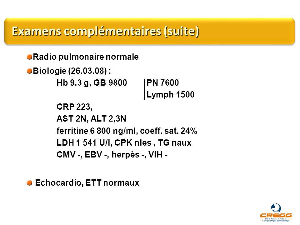 Examens complémentaires (suite) Radio pulmonaire normale Biologie (26.03.08) : Hb 9.3 g, GB 9800 PN 7600 Lymph 1500 CRP 223, AST 2N, ALT 2,3N ferritin