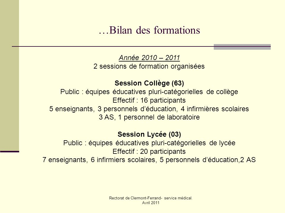 Rectorat de Clermont-Ferrand- service médical. Avril 2011 …Bilan des formations Année 2010 – 2011 2 sessions de formation organisées Session Collège (