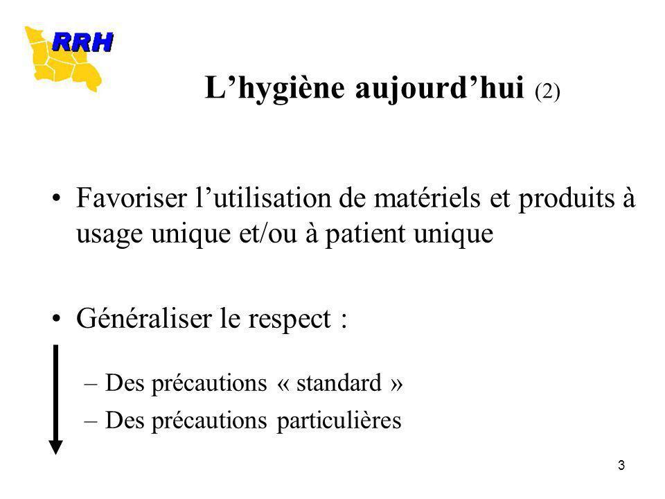 3 Lhygiène aujourdhui (2) Favoriser lutilisation de matériels et produits à usage unique et/ou à patient unique Généraliser le respect : –Des précauti