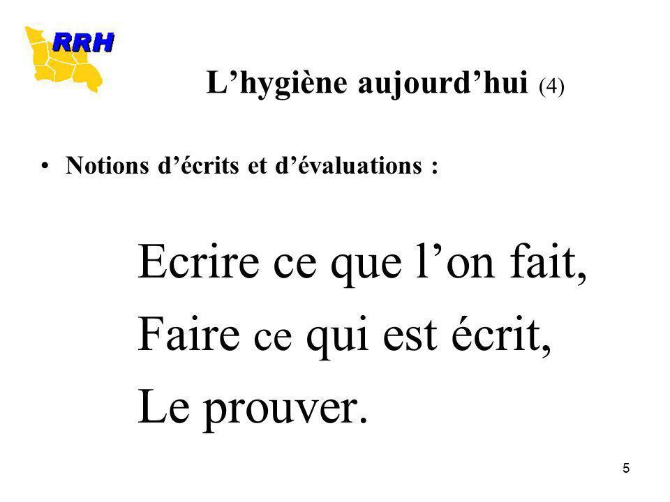 5 Lhygiène aujourdhui (4) Notions décrits et dévaluations : Ecrire ce que lon fait, Faire ce qui est écrit, Le prouver.